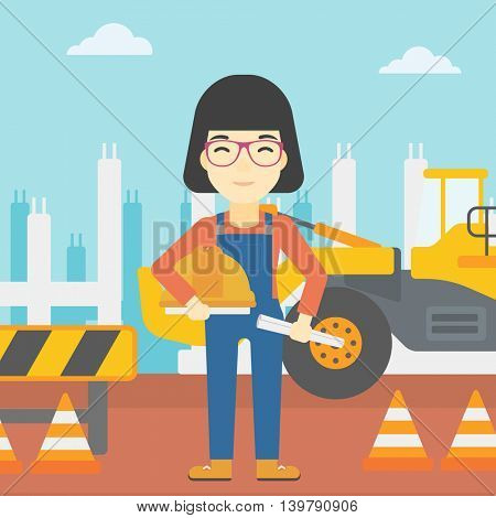 An asian engineer with a blueprint at construction site. Woman holding a twisted blueprint and hard hat. Woman checking construction works. Vector flat design illustration. Square layout.