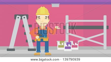 An asian man in helmet with a hummer and a nail in hands standing on the background of purple walls, paint cans and ladder vector flat design illustration. Horizontal layout.