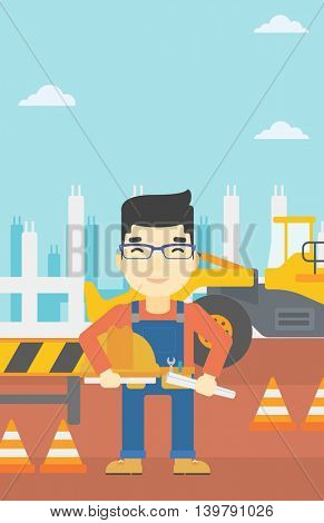 An asian engineer with a blueprint at construction site. Man holding a twisted blueprint and hard hat. Man checking construction works. Vector flat design illustration. Vertical layout.
