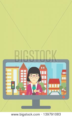 Television set broadcasting the news with an asian reporter on a city background. Vector flat design illustration. Vertical layout.