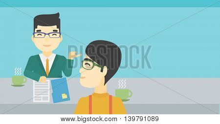 An asian male journalist interviewing a young man on a light blue background. Vector flat design illustration. Horizontal layout.