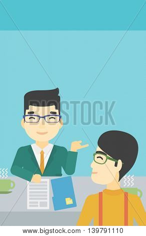 An asian male journalist interviewing a young man on a light blue background. Vector flat design illustration. Vertical layout.