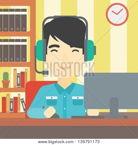 An asian man playing computer game on the background of living room. Gamer in headphones playing online games. Gamer using computer for playing game. Vector flat design illustration. Square layout.