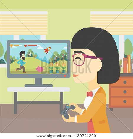 An asian young woman playing video game with gamepad in hands in living room. Vector flat design illustration. Square layout.