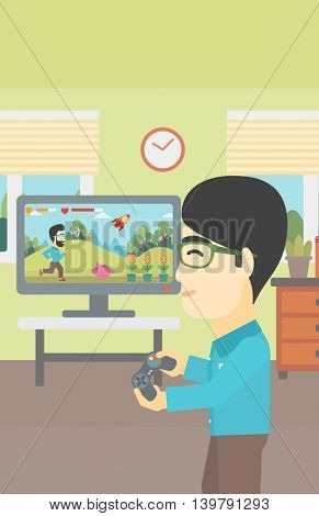 An asian young man playing video game with gamepad in hands in living room. Vector flat design illustration. Vertical layout.