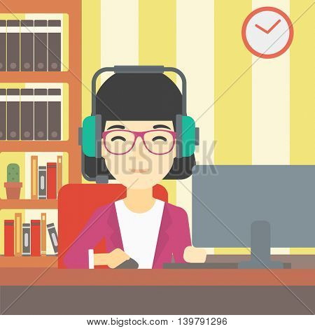 An asian woman playing computer game on the background of living room. Gamer in headphones playing online games. Gamer using computer for playing game. Vector flat design illustration. Square layout.