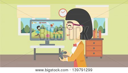 An asian young woman playing video game with gamepad in hands in living room. Vector flat design illustration. Horizontal layout.