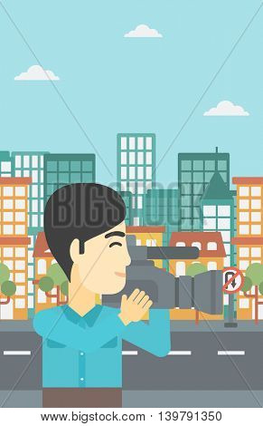 An asian young cameraman looking through movie camera. Man with professional video camera in the city. Cameraman shooting outdoor. Vector flat design illustration. Vertical layout.