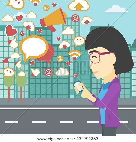 An asian woman using smartphone with lots of social media application icons flying out on a city background. Vector flat design illustration. Square layout.