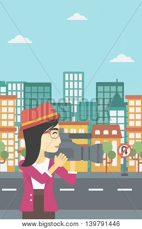 An asian young female cameraman looking through movie camera. Woman with professional video camera in the city. Woman shooting outdoor. Vector flat design illustration. Vertical layout.