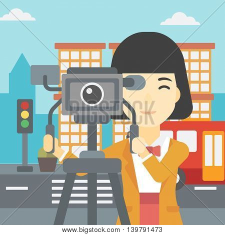 An asian young female cameraman looking through movie camera on a tripod. Young woman with professional video camera shooting in the city. Vector flat design illustration. Square layout.