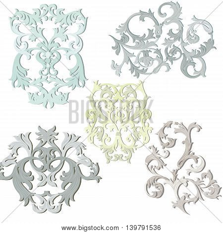 Vector damask pattern elements set. Exquisite Baroque elements template. Classical luxury fashioned damask ornament Royal Victorian ornament for textile wrapping