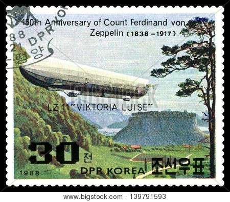 STAVROPOL RUSSIA - JULY 19 2016: a stamp printed in DPR Korea shows Airship LZ-11 Viktoria Luise Ferdinand Von Zeppelin series cirka 1988