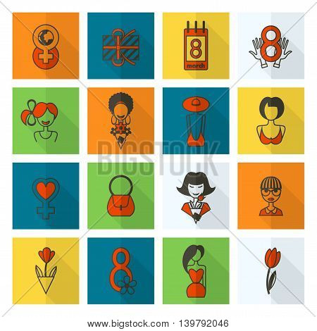 Design Elements for International Womens Day March 8, Icons. Vector
