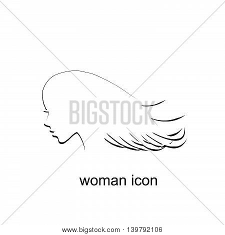 Illustration of a woman profile icon on white background