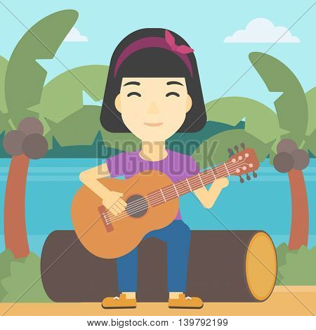 An asian happy musician sitting on log and playing an acoustic guitar. Woman practicing in playing guitar. Guitarist playing on the beach. Vector flat design illustration. Square layout.