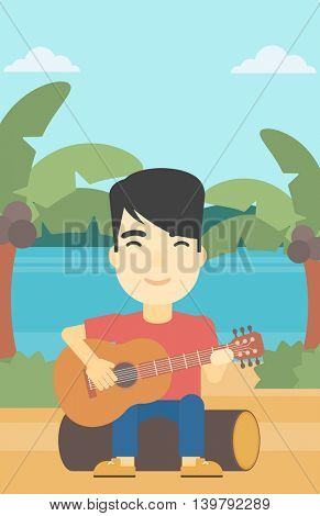 An asian happy musician sitting on log and playing an acoustic guitar. Man practicing in playing guitar. Guitarist playing on the tropical beach. Vector flat design illustration. Vertical layout.