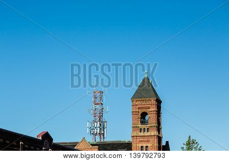 Cell Tower Past Bell Tower in Charlottetown