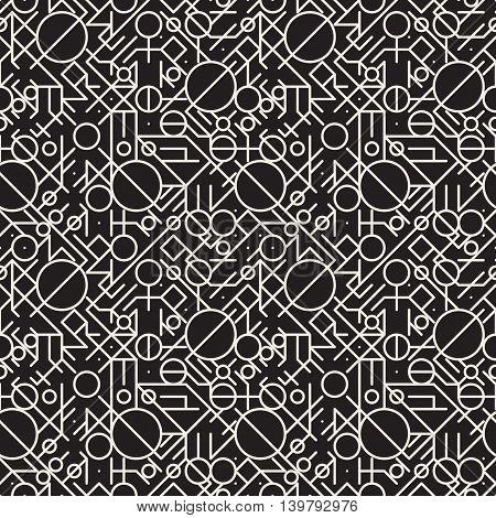 Vector Seamless Black and White Geometric Lines Irregular Pattern. Abstract Geometric Background Design