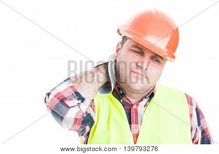 Construction Worker  Looking Tired Or Tense