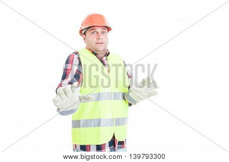 Young Constructor Looking Terrified Of Something