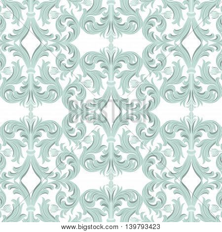 Vintage Vector Baroque Luxury ornament pattern. Damask Victorian Rich Rococo pattern. Elegant Luxury texture for textile tile and page fill. Opal blue color pattern