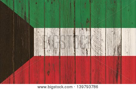 Flag of Kuwait painted on wooden frame