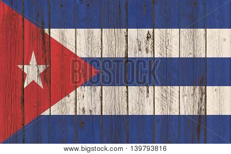 Flag of Cuba painted on wooden frame