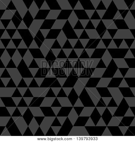 Geometric vector pattern with black and gray triangles. Seamless abstract background