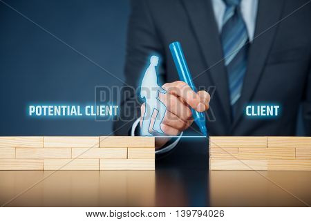 Businessman (client care and client support) helps potential client become real client.
