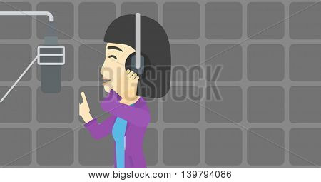 An asian young woman in headphones singing in recording studio. Singer making a record of her voice. Young singer recording a song. Vector flat design illustration. Horizontal layout.