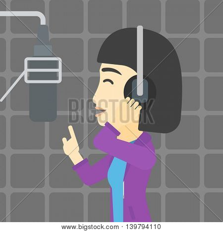 An asian young woman in headphones singing in recording studio. Singer making a record of her voice. Young singer recording a song. Vector flat design illustration. Square layout.