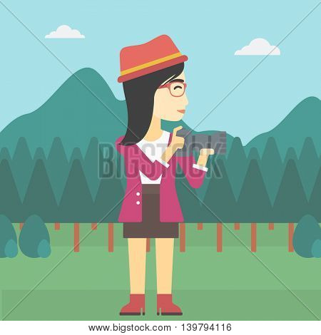 An asian young woman taking a photo of landscape. Photographer taking a picture in the mountains. Nature photographer with digital camera. Vector flat design illustration. Square layout.