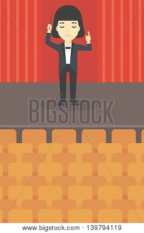 An asian young orchestra conductor directing with baton. Concentrated woman conducting an orchestra on the stage. Vector flat design illustration. Vertical layout.
