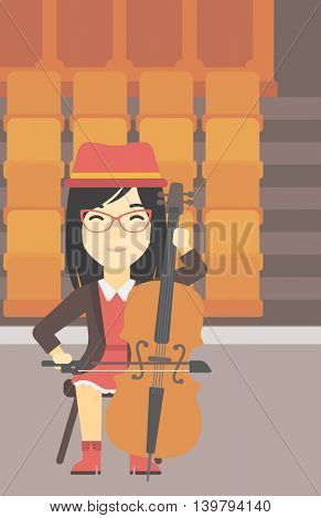 An asian young woman playing cello. Cellist playing classical music on cello. Young woman with cello and bow on the background of empty theater seats. Vector flat design illustration. Vertical layout.