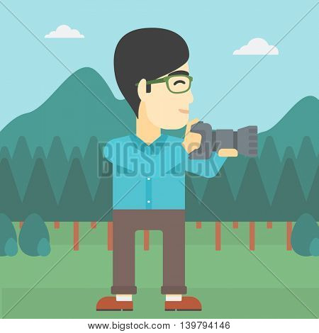 An asian young man taking a photo of landscape. Photographer taking a picture in the mountains. Nature photographer with digital camera. Vector flat design illustration. Square layout.