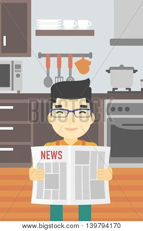 An asian happy man reading the newspaper. Young smiling man reading good news. Man with newspaper in hands on the background of kitchen. Vector flat design illustration. Vertical layout.