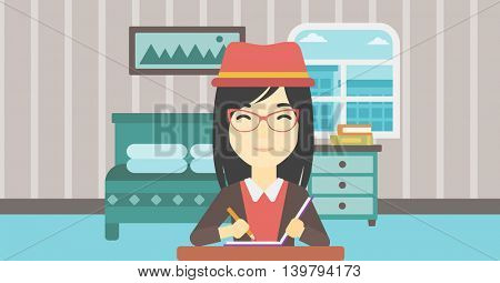 An asian female journalist sitting at the table and writing in notebook with pencil. Female journalist writing notes on the background of bedroom. Vector flat design illustration. Horizontal layout.