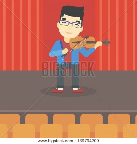 An asian young man playing violin. Violinist playing classical music on violin. Man with violin standing on the stage. Vector flat design illustration. Square layout.