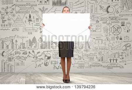 Businesswoman with banner . Mixed media