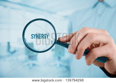 Manager and another successful business person are focused on synergy effect.