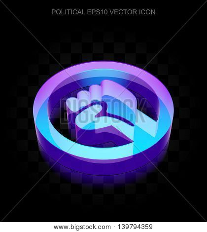 Politics icon: 3d neon glowing Uprising made of glass with transparent shadow on black background, EPS 10 vector illustration.