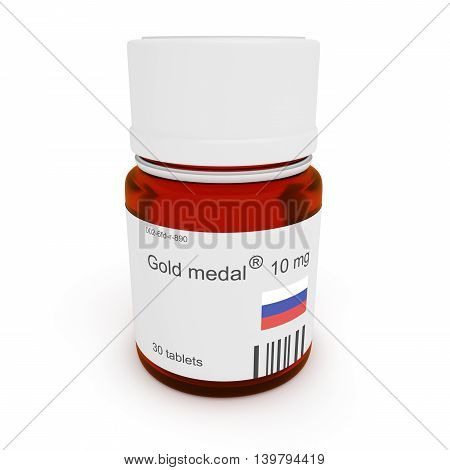 Doping in Russia: Pill bottle Gold medal 10 mg 3d illustration