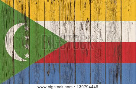 Flag of Comoros painted on wooden frame