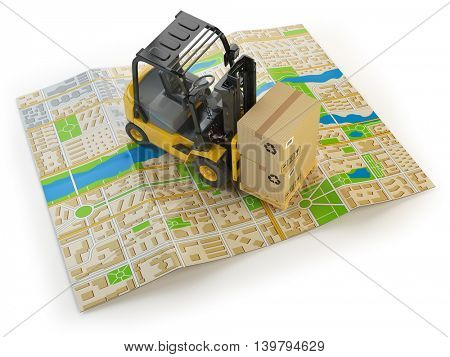 Forklift with cardboard boxes on the city map isolated on white.  Cargo delivery concept. 3d illustration