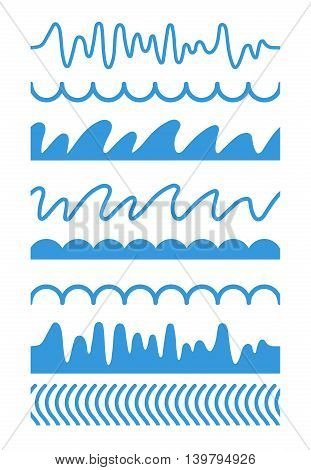 vector horisontal Seamless patterns with abstract lines water waves and hills. Blue pictures isolate on white background.
