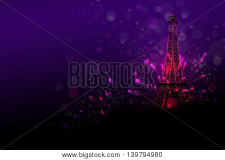 Happy New Year fireworks Paris with Eiffel tower or France day celebration