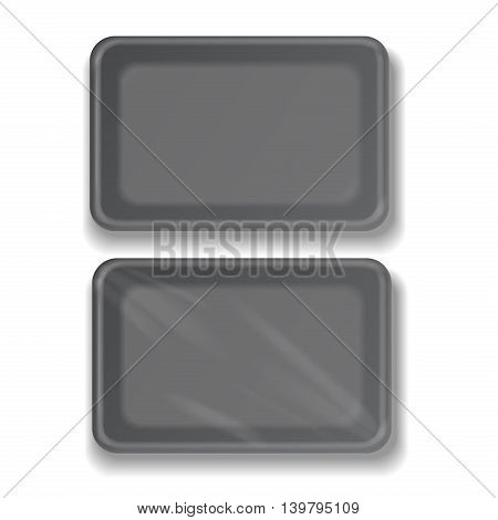 Empty black plastic food container vector illustration