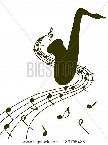 Stylish saxophone pattern on  white background for slogan, poster, flier etc. Vector silhouette illustration of a sax and musical notes  on the stave, can be used with any image or text.