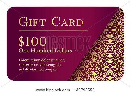 Vintage purple gift card with golden ornament in right corner as decoration